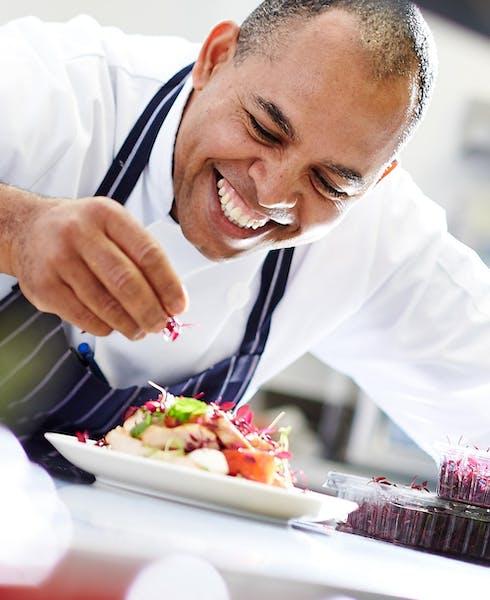 A chef preparing a meal